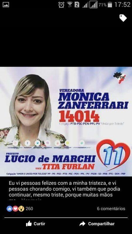 Monica Zanferrari candidata vereadora do PTB de Toledo